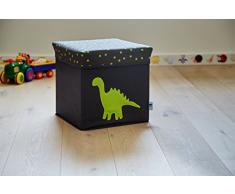 STORE.It 672043 Asiento Taburete para niños, caja para juguetes, reforzado con MDF, poliéster resistente. Soporta hasta 80 kg, 35 x 35 x 35 cm, dinosaurios, Gris y Verde