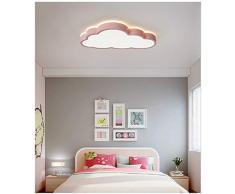 Luz de techo de nubes LED, lámpara de techo de irradiación de 360 ° dormitorio aula de guardería (Luz neutra, Borde rosa (50 * 28 cm) 48W)