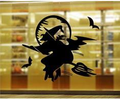 GYMNLJY Pegatinas de pared Etiqueta engomada de la ventana arte de pared de Halloween decoración de dormitorio decoraciones de composición tipográfica , 60*51cm layout black