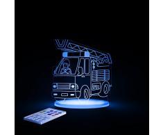 Aloka SleepyLight-Lámpara nocturna en forma de camión de bomberos para niños con mando a distancia