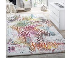 Paco Home Alfombra Moderna Efecto Lienzo con Dibujo Ornamental Floral Multicolor Crema Turquesa, tamaño:80x150 cm