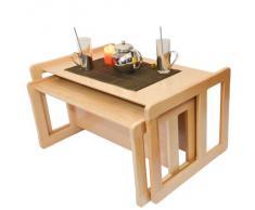 3 en 1 Muebles Multifuncional Para Adultos Conjunto De Nido de Dos Mesas de Café, o Muebles Multifuncional Para Niños Conjunto De Una Mesa Multifuncional y Un Banco Multifuncional Barniz de Luz Madera Maciza De Haya
