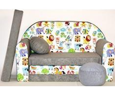 Pro Cosmo - Sofá Cama para niños A5 con puf, reposapiés y Almohada, Tela Multicolor, 168 x 98 x 60 cm