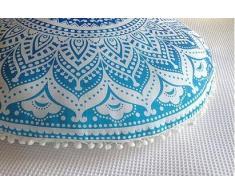 Zulistore - Cojín de suelo redondo grande, 830 mm de diámetro, color azul, 100% algodón, sin bordado