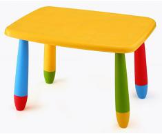 Mueblear 90044 Mesa infantil rectangular de plástico amarilla 73x58x48 cms