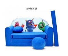 Sofá niños sofá cojín y puff Mini sofá transformabile en cuna cama.
