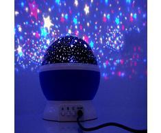 Bluestercool 360 grados de rotación 3 Modo de luz del proyector de la estrella romántica Cosmos Luna del cielo de la lámpara de proyección de luz nocturna dormitorio para niños, bebés, regalos de la Navidad, los amantes (Azul)
