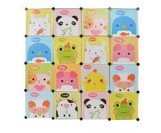 ts-ideen Armario blanco zapatero para niños para juguetes puertas de colores con bonitos motivos 145 x 145 cm