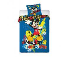 Disney MICKEY MOUSE juego de cama de 160 x 200 cm estrella de rock 70 x 80 cm, 100% algodón, ÖKO TEX 100