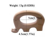 Coskiss La dentición de juguete de madera elefante Rabbitfish erizo Mordedor Bebé de la naturaleza orgánica Ecológico Holder collar de madera / regalo del bebé pulsera de enfermería (4)