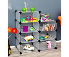 Estante para oficina, pasillo, niños Estantería para CD, Armario para libros en blanco traslúcido