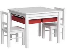 UTEX 2-en-1 Multi niños Mesa de Actividades y 2 sillas Set con Almacenamiento (Blanco con Rojo) del cajón