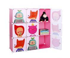 Songmics Estantería plegable infantil, color rosa, Organizador de juguetes LPC33P