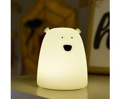 Lámpara Nocturna Silicona Suave para Bebé, Niños, Infantil, Luz LED de Noche funciona con Pilas Oso Polar 7 Colores Dar Golpecito para Iluminar Decoración del Dormitorio Larga Duración