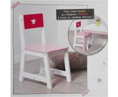 Atmosphera for Kids - Silla infantil de madera, color rosa y blanco