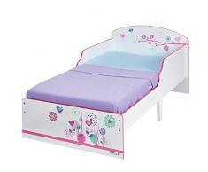 Hello Home Cama Infantil con diseño de Flores y pájaros, Madera, Blanco, 142.00x77.00x59.00 cm