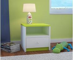 CARELLIA Mesilla de noche infantil 1 cajón L: 40 cm x P: 39 cm x H: 30 cm – Color Verde Lima