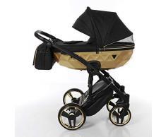 Cochecito de bebé Junama Diamond Mirror Satin 2en1 carro duo (negro+dorado)