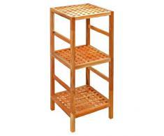 Estantería de 85 cm de alto, en madera maciza de nogal, ideal para baño, sala, pasillo, vestíbulo, cocina, oficina y habitación para niño