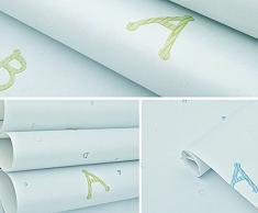 Moderno papel pintado verde dibujos animados dibujos animados letras habitación de los niños dormitorio completo tienda niños y niñas papel pintado 0,53 m (20,8 cm) * 10 m (32,8 ') = 5.3sqm (gris), Only the wallpaper, 003 illusion blue