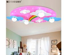 JJ LED moderno lámpara de techo acogedor nubes Rainbow Children's ROOM LAMP LED luz de techo para niños y niñas dormitorio lámparas de iluminación de 730*400*120mm cartoon, Rosa ,220V-240V