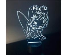 HADA, lámpara infantil PERSONALIZADA con nombre, iluminación nocturna LED, lámpara de noche, quita miedos. Luz de noche LED. Ideal para la habitación de bebés y niños. Vendido por VPM Original