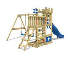 WICKEY Castillo el juego RoyalFlyer Parque infantil Torre de escalada con columpio y tobogán, cajón de arena, muro para trepar y escalera