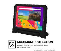 Samsung Galaxy Tab E 8.0 Funda de niños, COOPER DYNAMO Funda dura protectora para choques y uso pesado para niños con agarre de mano, estante trasero y protector de pantalla incluido (Negro)