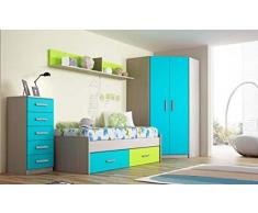 Dormitorio Juvenil Completo, Subida A Domicilio, con Cama Nido y Muebles complementarios, ref-110