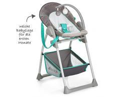 Hauck Sit N Relax - Hamaquita balancin y trona para recién nacidos, respaldo reclinable, chasis ligero, con arco móvile, mesa, ruedas, regulable en altura, plegable - gris azul