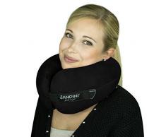 SANDINI TravelFix® – Almohada premium de viaje/ Almohada para el cuello con función de soporte ergonómico – AMPLIA VARIEDAD – Disponible en exclusiva con compensación térmica Outlast® – Bolsa de transporte GRATUIDO