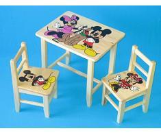 Juego de madera mesa con 2 sillas para dormitorio infantil. M10. Otra idea de regalo.Completo de pino con dibujo a mano.