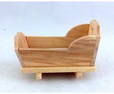 Casa Muñecas Muebles Infantiles Miniatura Inacabado Mecedora Cuna De Madera Natural