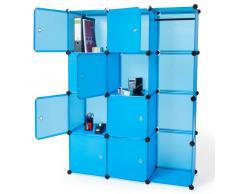 TecTake Estantería Armario Organizador Aparador por Módulos para Oficina, Habitación infantil, Salón, Baño en azul