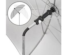 Zamboo - Sombrilla universal Carrito de bebé - Silla de paseo - Parasol flexible con soporte para tubos redondos y ovalados / Protección UV50+, 73 cm diámetro, color negro