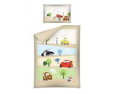 Ropa de cama infantil, 2 piezas (40 x 60 cm y 100 x 135 cm), 100 % algodón, con cierre de cremallera y diseño de Disney Cars beige Talla:tamaño: 100 x 135 cm + 40 x 60 cm