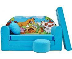 PRO COSMO - B5 niños sofá Cama futón con Puff/reposapiés/Almohada, Tela, Azul, 168 x 98 x 60 cm