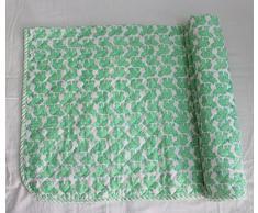 HANDICRAFTOFPINKCITY mano acolchado pino Hojas Mano Bloque Impreso cuna tamaño colcha con bordado Kantha Puntadas bebé Wrap