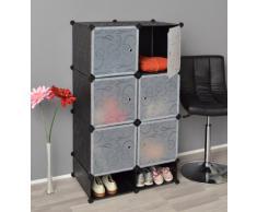 TS Ideen 5151 Gabinete Completo con zapatero, Baño gabinete, gabinete de dormitorio, Negro / Blanco Transparente