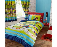 Infantil edredón, diseño de excavadoras juego de cama, azul verde