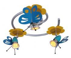 Naeve Leuchten 114961 Schmetterling - Lámpara de techo infantil (metal, IP20, incluye 3 bombillas GU10, 50 W, 230 V, 36 x 36 x 14 cm), diseño de mariposas, varios colores
