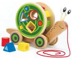 Hape Pull and Play Shape - Juguete transportable para clasificar formas (madera, incluye cuerda y ruedas), diseño de caracol