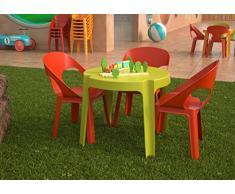 Resol Rita Set Infantil de 4 Sillas y 1 Mesa, Plástico y Polipropileno, 1 Mesa Rosa + 4 Sillas Roja/Naranja/Azul/Lima, 60x51x78 cm, 5 Unidades