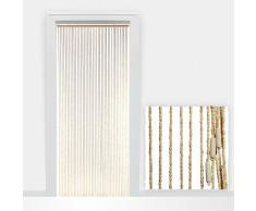Cortina para puerta decorativa - cuentas de madera - recortable a medida - fácil de colgar - 90x220cm - marrón claro