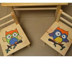 De muebles de para decorativo para de mesa con diseño de + 2 sillas madera de pino arte mano para niños de madera! Funda de almohada de! búho