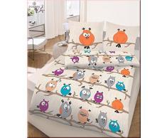 Ido Juego de cama 2 piezas. Beige de naranja de color turquesa búho 47793 - 428 infantil juvenil Ropa de cama 80 x 80 cm/135 x 200 cm