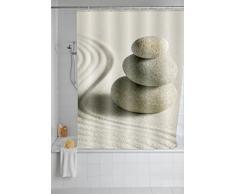 WENKO 20968100 Cortina de ducha Sand and Stone - tejido textil de alta calidad, lavable, Poliéster, Multicolor