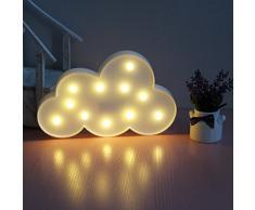 Lámpara LED de mesa y decorativa, de Xiyunte (VC067); luz blanca cálida, con diseño de lámpara 3D y alimentación por pilas, además de varios modos de iluminación (luna, estrellas y nubes)