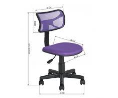 Silla de oficina Ihouse sin brazos ajustable giratoria de malla de plástico silla infantil, color morado