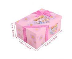FTVOGUE Caja de música para niños con Caja de música para niños de Dibujos Animados, Rosa, Espejo, Almacenamiento, Estuche de plástico con Princesa del Baile
